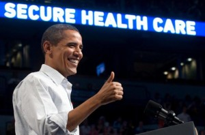 President Obama gives a thumbs up as he speaks about healthcare reform during a September rally at the Target Center in Minneapolis. (SAUL LOEB/AFP/Getty Images)